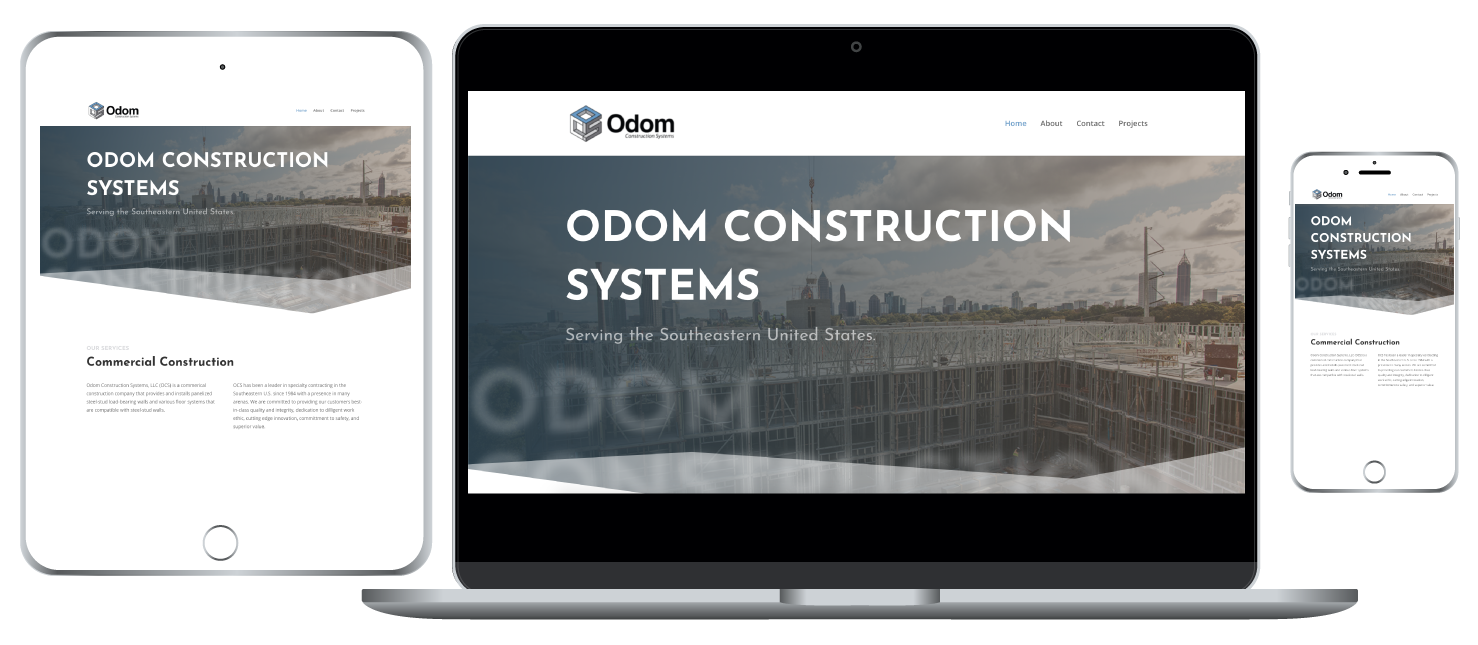 Odom Construction responsive website